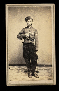 YOUNG Armed Civil War Soldier Holding Gun - Champlain New York 1860s CDV Photo Amazing!