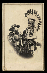 RARE Western History Photo Edwin Perrin & Pueblo Indian w Guns New Mexico 1860s