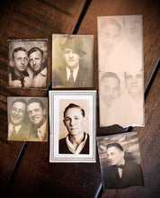 Load image into Gallery viewer, SIX Vintage Photo Booth Snapshots - All Men 1930s 1940s