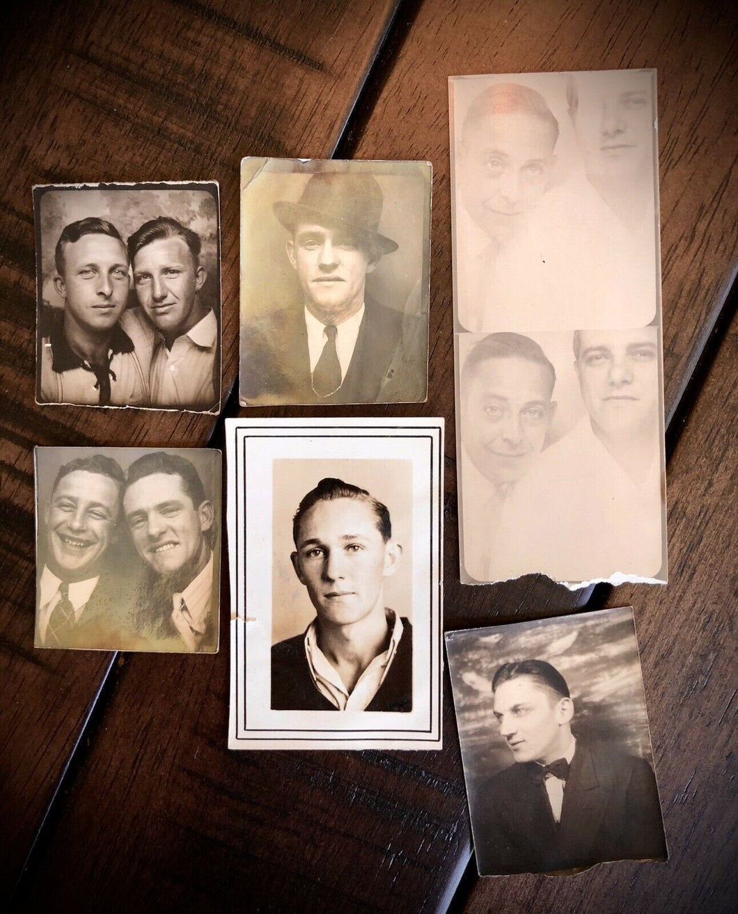 SIX Vintage Photo Booth Snapshots - All Men 1930s 1940s
