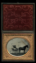 Load image into Gallery viewer, 1860s 1/6 Ambrotype Photo - Outdoor Scene of Girls in a Horse and Buggy or Sulky