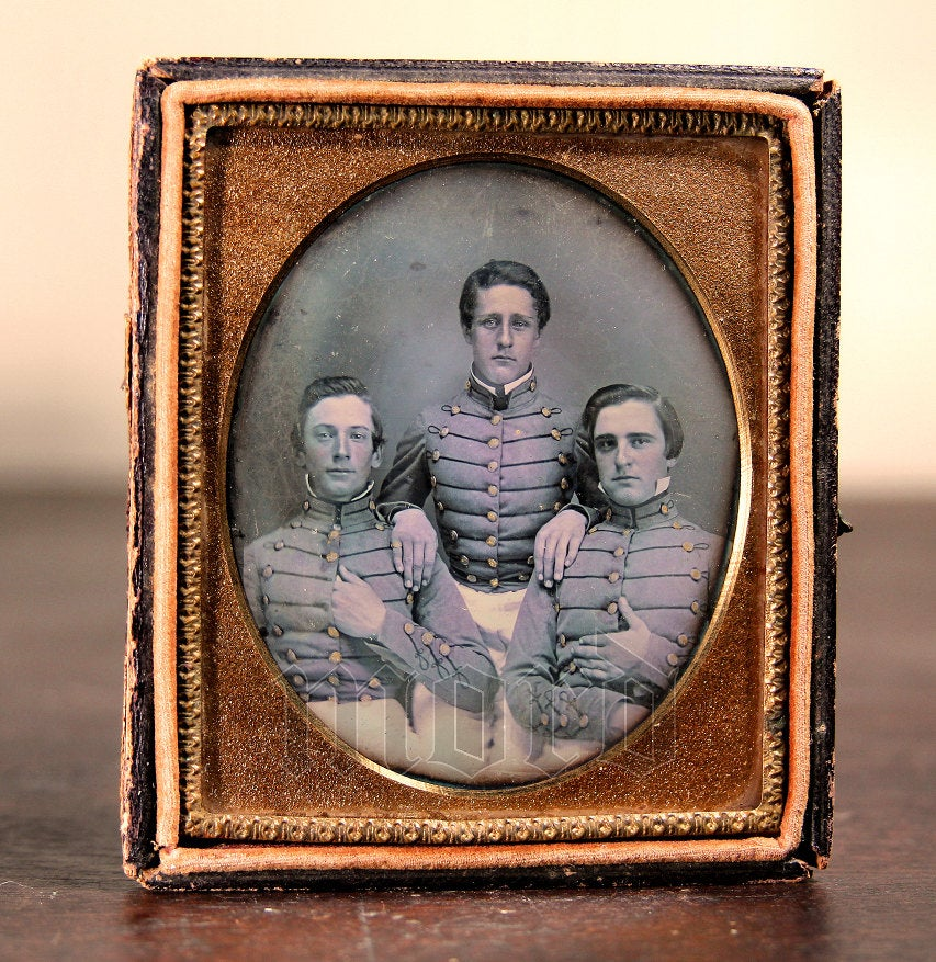 Museum Quality Pre Civil War Daguerreotype of VMI Virginia Military Institute Cadets c1850