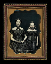 Load image into Gallery viewer, Two Fine Color Tinted 1/4 Daguerreotypes ~ Mother & Daughter and Boy w Toy Hammer