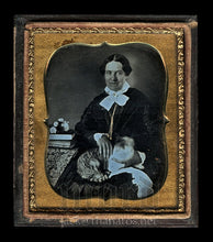 Load image into Gallery viewer, Amazing Rare Sealed Daguerreotype Woman Holding Tabby Cat - Painted Gold Eye!
