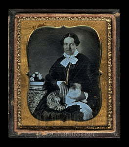 Amazing Rare Sealed Daguerreotype Woman Holding Tabby Cat - Painted Gold Eye!