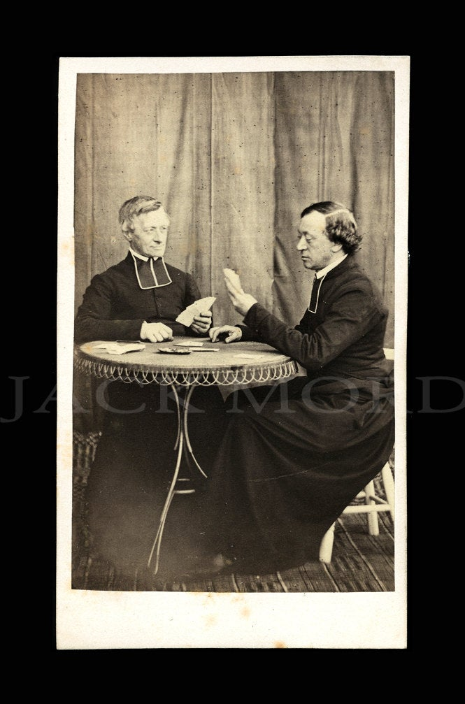 Very Rare Early 1860s CDV Photo ~ Clerics / Priests Playing Cards Maybe Poker