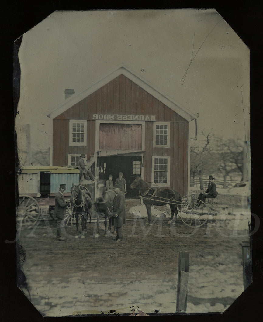 Antique 1800s Occupational Full Plate Tintype Harness Shop Photographer Studio Wagon Gallery