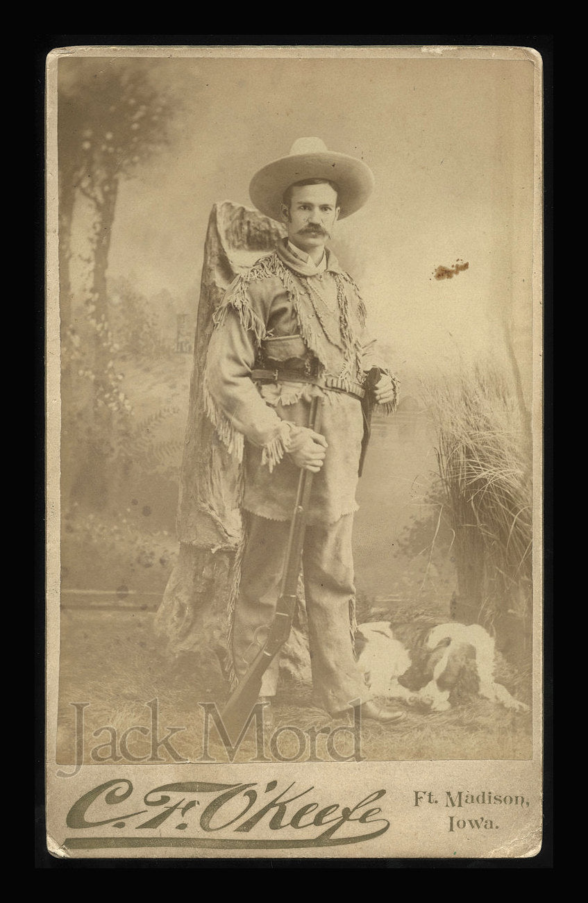 Antique Boudoir Photo of Iowa Hunter / Scout with Dog / Armed with Winchester Rifle