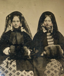 Two Women in Winter Dress, Muffs, Veils - 6th Plate Ambrotype