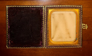 Empty Banded Leather Case For 1/6 Photos, 1850s