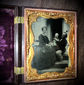 1/4 Ambrotype Family on Front Porch of Home! Dog in Photo