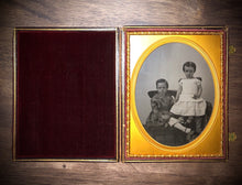 Load image into Gallery viewer, Half Plate Ambrotype of Children, Siblings - Girl Holding Keys 1850s Photo