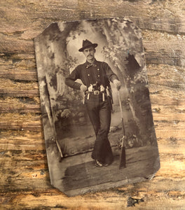 Amazing Antique Tintype Western Dude  Overloaded with Guns