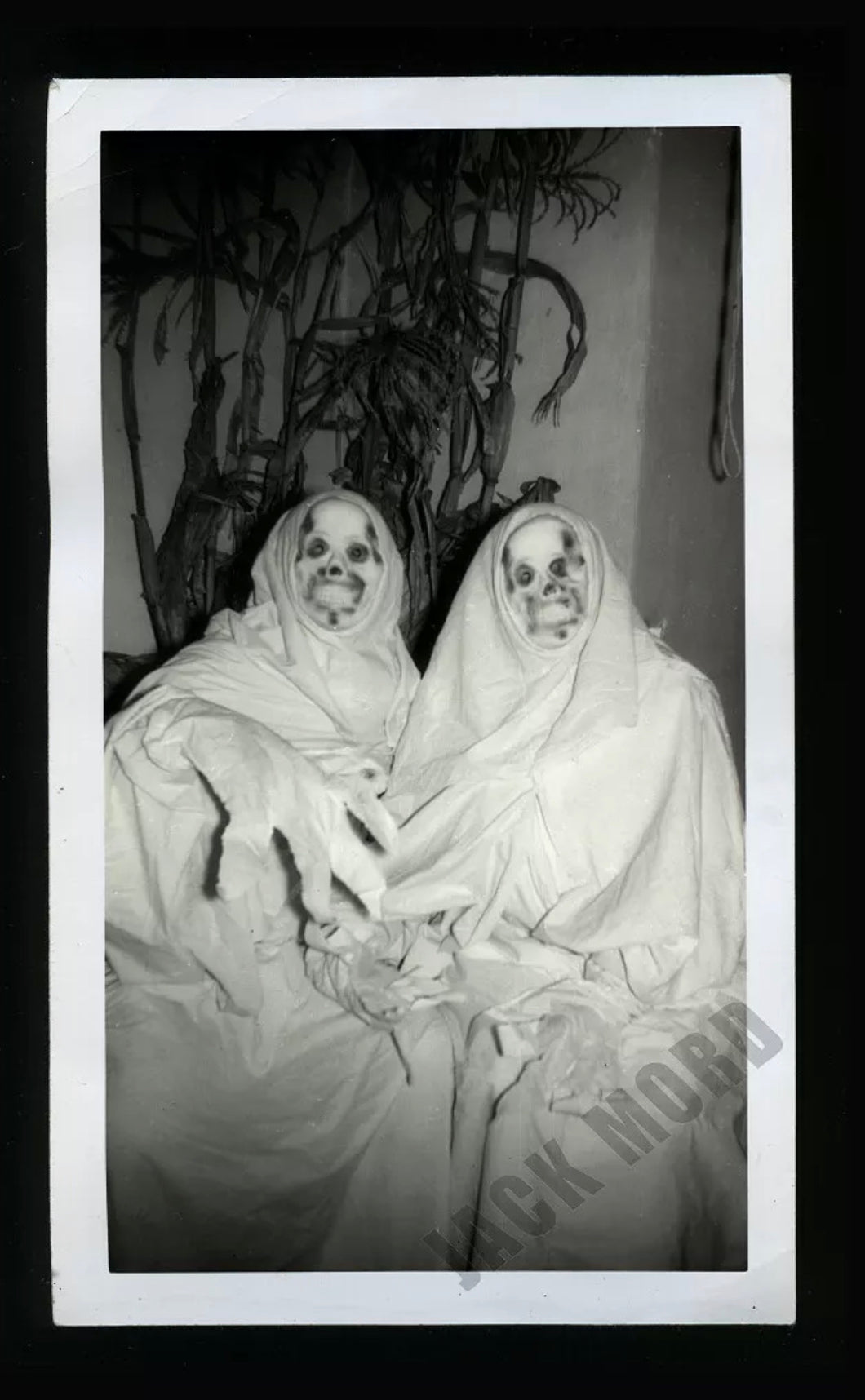 creepy halloween costume skull ghouls or ghosts vintage snapshot photo