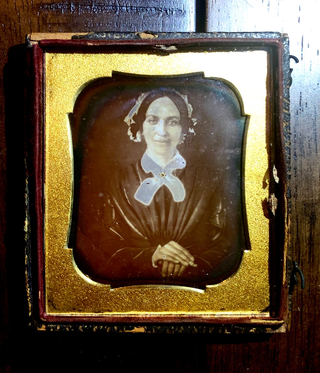 1840s Daguerreotype Smiling Woman, Jewelry & Interesting Seals