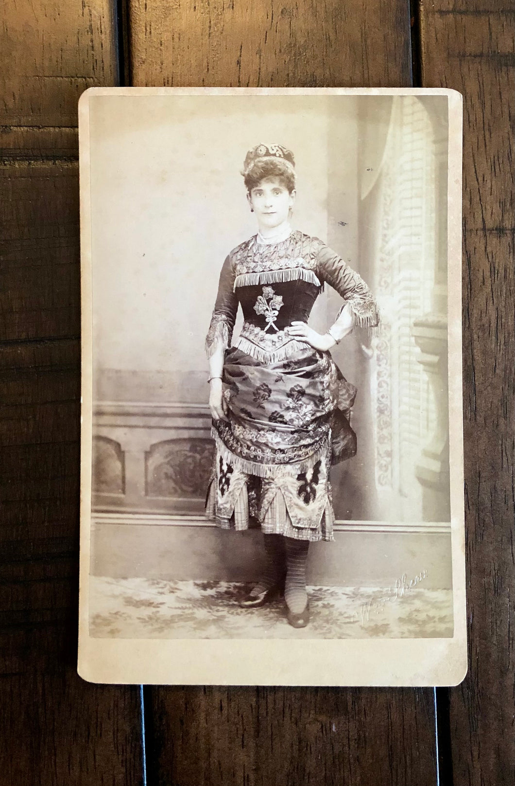 San Francisco Photographer SHEW  Woman In Unusual Ethic? Dress & Hat 1800s Photo