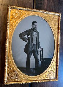 Excellent Large, Half Plate Tintype of a Confident Man / Full Standing Portrait