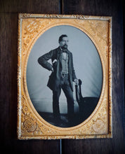 Load image into Gallery viewer, Excellent Large, Half Plate Tintype of a Confident Man / Full Standing Portrait