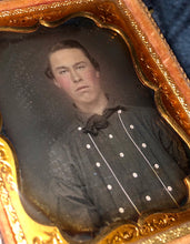 Load image into Gallery viewer, 1850s Sealed Daguerreotype Handsome Man - Miner Fireman or Sailor? You Tell Me!