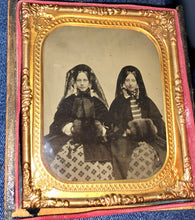 Load image into Gallery viewer, Two Women in Winter Dress, Muffs, Veils - 6th Plate Ambrotype