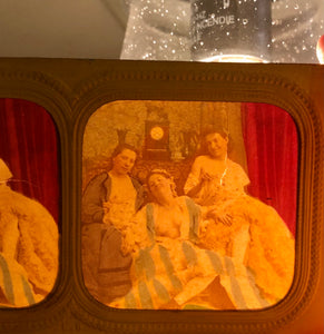 Very Rare Erotic Tissue Stereoview - Nude French Women! Antique 3D Photo