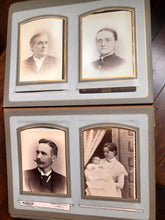 Load image into Gallery viewer, Large Leather Photo Album 52 Cabinet Cards incl Illinois Mayor Wedding Invitation