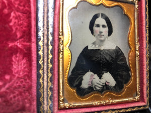 nice c 1860 tintype in full case, pretty woman, tinted pink cuffs & gold jewelry