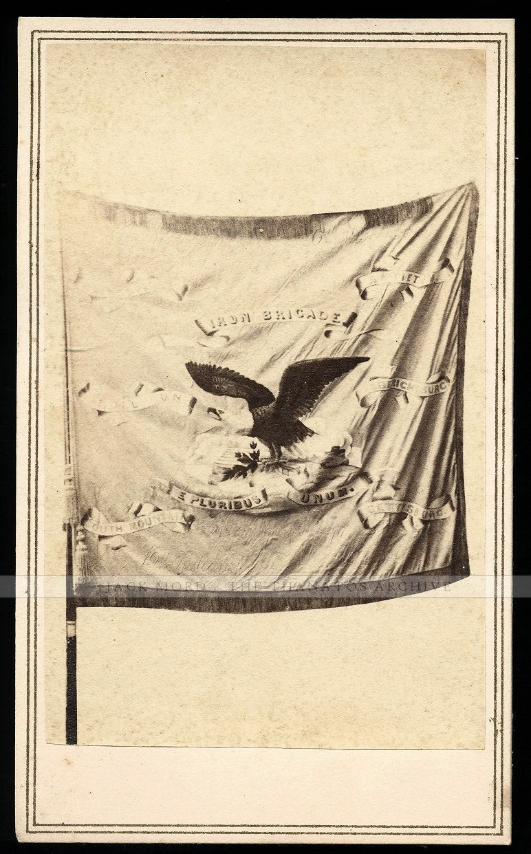 Very Very Rare 1860s CDV - Battle Flag of the IRON BRIGADE by Alexander Gardner