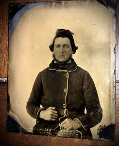 1860s Tintype Photo - Man In Great Hunting Or Military Jacket, Neff's Patent