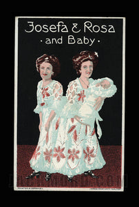 Color Postcard Photo of Conjoined Sisters with Baby