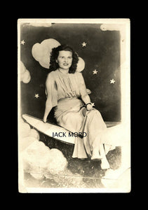 Rare RPPC Photo - Woman with Hands & Feet Deformity - Sitting on Prop Moon