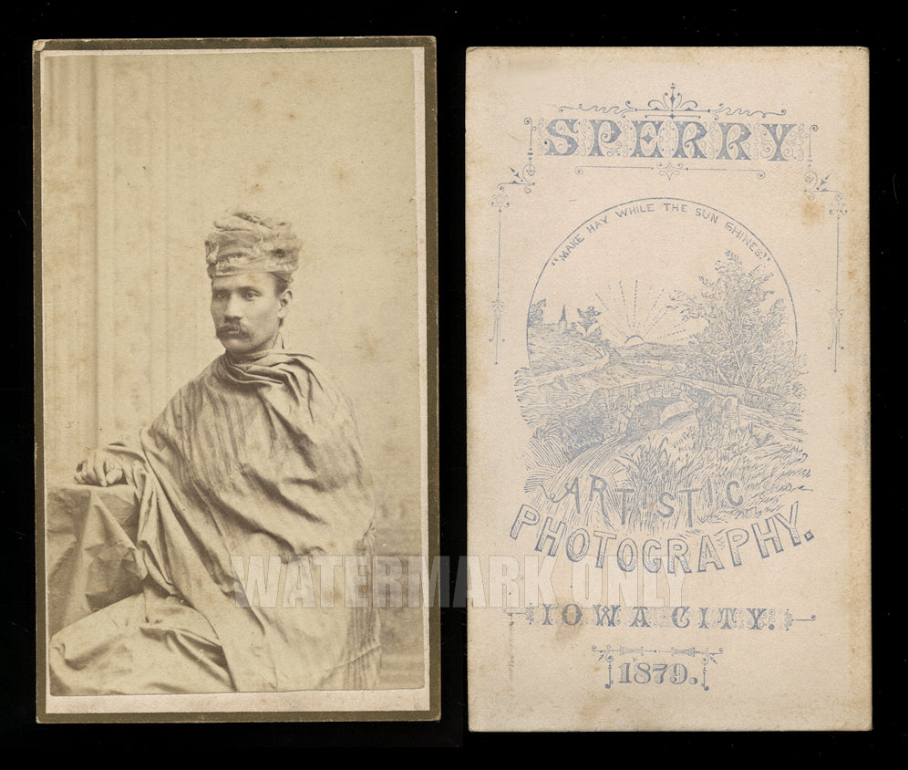 RARE CDV Photo Ethnic Burma Man Moung Edwin University Iowa College of Law Grad