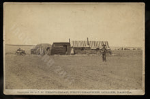 Load image into Gallery viewer, Sod Shanty On the Claim 1885 Cabinet Card of Dakota Homesteaders by Templeman
