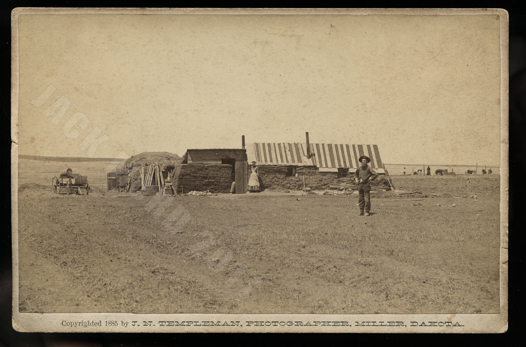 Sod Shanty On the Claim 1885 Cabinet Card of Dakota Homesteaders by Templeman