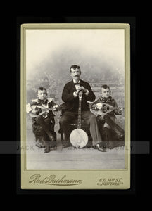 Antique Photo Father & Young Sons Musicians / Musical Group with Banjo & Guitars