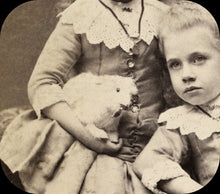 Load image into Gallery viewer, 1800s Photo Chicago Girls Sisters Twins & Mystery Beast Pet Cat Rabbit Bird Toy?