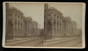TWO Antique Stereoview Photos Interesting New York Street / Architectural Scenes