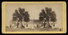 Load image into Gallery viewer, Savannah Georgia - 1860s Stereoview Photo - Victorian Group By Palmetto Tree