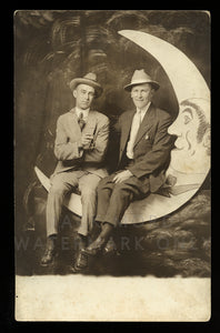 Antique RPPC Photo Two Men / Male Friends on Paper Prop Moon - Gay Int, 1910s