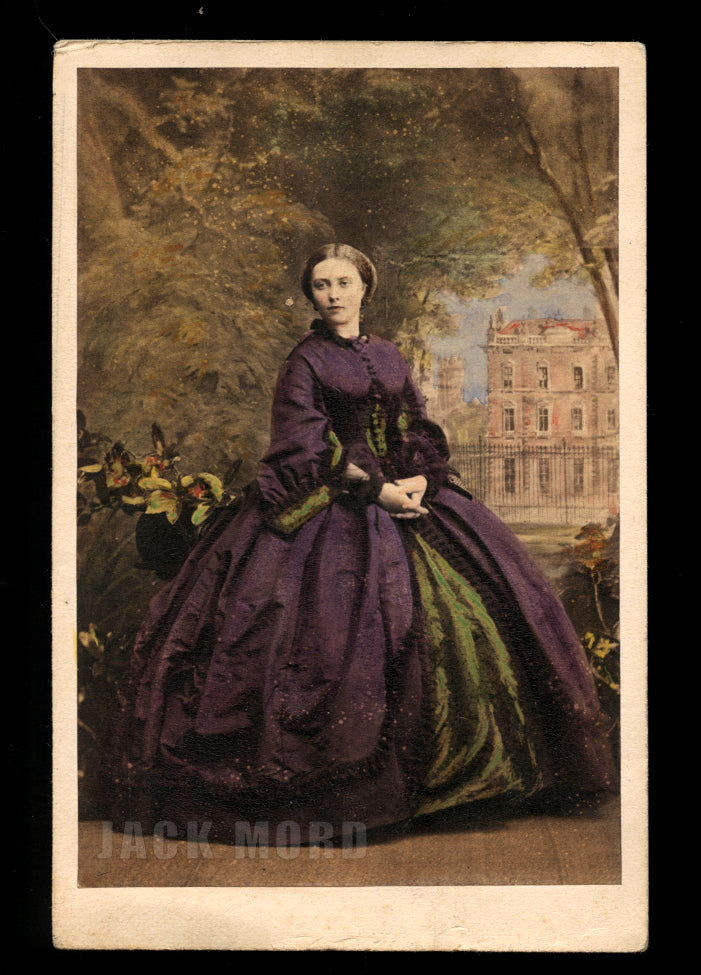 Beautiful Princess of Prussia Tinted Purple Dress 1860s Royalty CDV Photo Rare