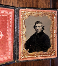 Load image into Gallery viewer, Civil War 1860s Tintype Handsome Man Long Styled Hair Louisiana Photographer?