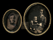 Load image into Gallery viewer, Daguerreotypes Handsome Smiling Man Sideburns + His Wife & Little Girl - Great!