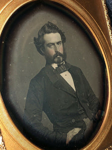 1/6 Daguerreotype Handsome Dashing Man with Mutton Chops Goatee Beard 1850s