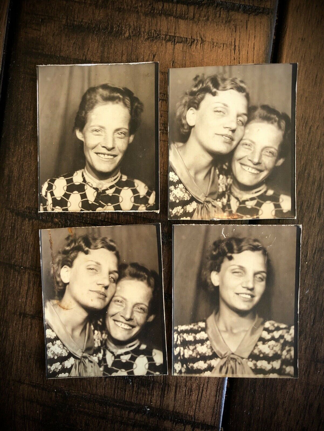 Four Photo Booth Snaps Of Same Two Women 1930s 1940s, Photobooth Lot