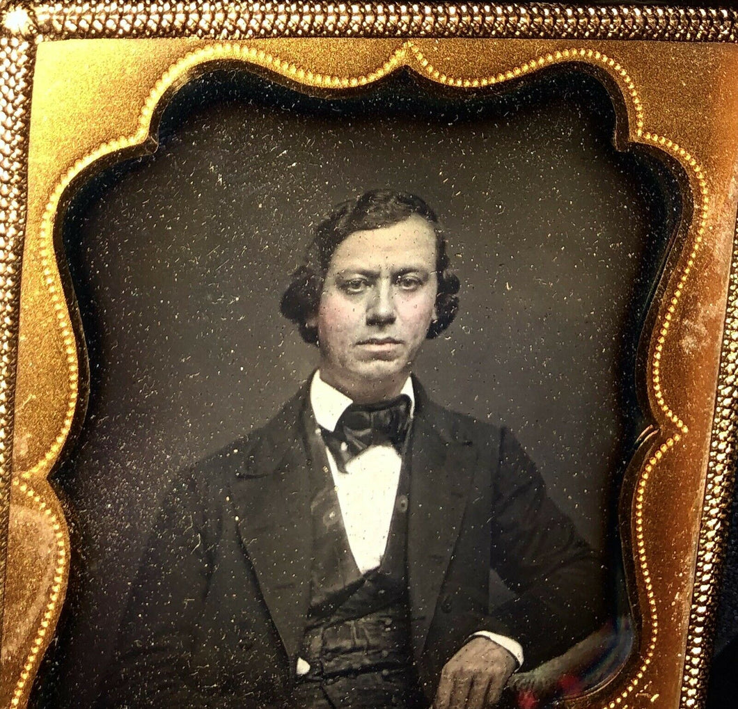 1/6 Plate Uncased but Sealed Daguerreotype of a Man New York Photographer Paret
