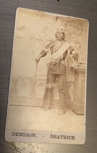 1800s CDV Photo Native American Indian Man Nebraska Photographer Denison