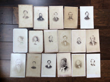 Load image into Gallery viewer, Lot of 17 CDV Photos 1860s / Civil War Era & Later Men & Women Tax Stamps & ID