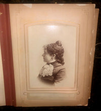 Load image into Gallery viewer, Leather album and lots of antique Victorian era photos tintypes cdvs