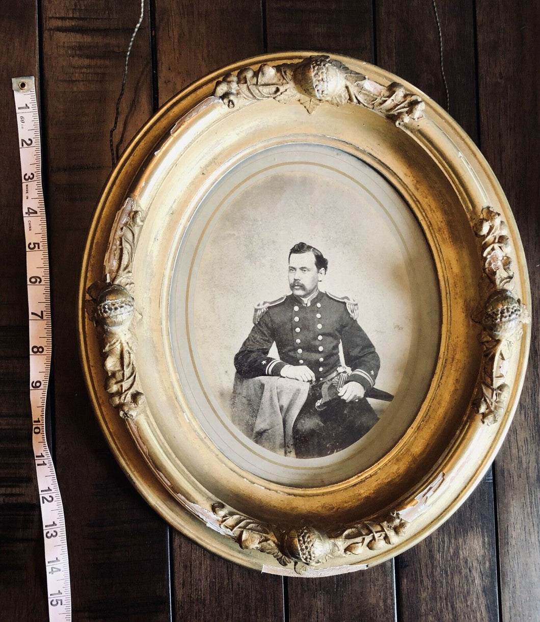 1860s GERMON Large Albumen Photo in Wall Frame ID'd Naval Commander Died ON Ship