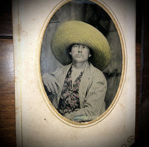 THREE Tintypes Same Memphis Tennessee Man Reading Paper Tinted Hat 1860s 1870s 1800s
